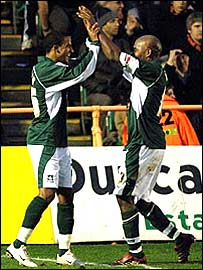 Plymouth strikers Scott Sinclair and Barry Hayles celebrate at Barnet