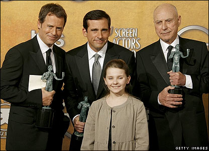 (l to r) Greg Kinnear, Steve Carell, Abigal Breslin and Alan Arkin