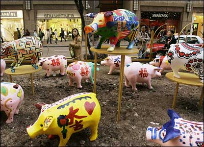 Colourful pig statues in Hong Kong
