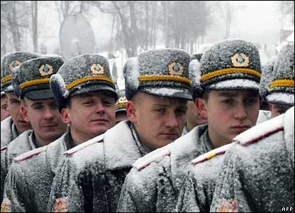 Ukrainian cadets standing in the snow in Kiev