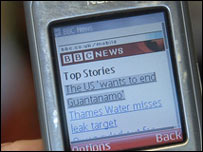 BBC News website on a mobile handset