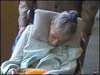 Emma Faust Tillman in a wheelchair