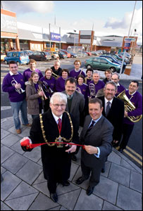 The opening of Ystwyth Retail Park (picture: Mercian Developments)