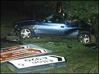 Road crash at Pitmedden (Pic: Press and Journal)