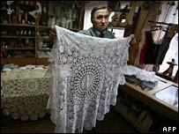 Mieczyslaw Kamieniarz holds a more traditional piece of work