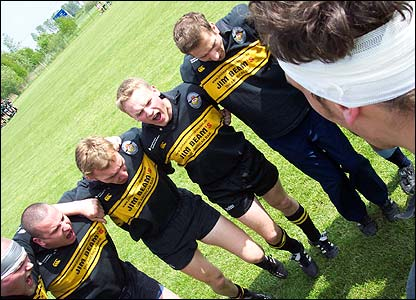 Ian Mills captures the passionate side of rugby union with this photograph of the Dresden Rugby club pre-match team talk