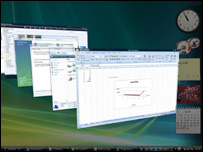"Windows Vista's new ""Flip 3D"" window switcher"