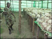 Skulls from Rwandan genocide