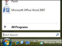 Windows Vista search box at the bottom of the Start menu