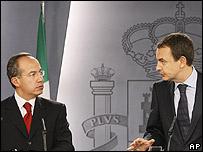 Felipe Calderón y José Luis Rodríguez Zapatero