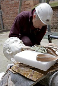 Caesar bust being moved at Powis Castle. Photo: Paul Highnam