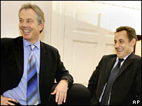 Nicolas Sarkozy and Tony Blair