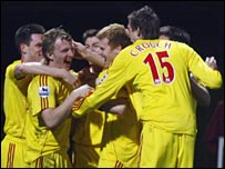 Dirk Kuyt celebrates after putting Liverpool ahead at West Ham