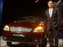 Ratan Tata. with one of the company's cars