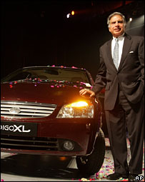 Ratan Tata with a newly launched Tata car