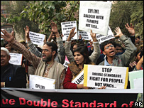 Protests against Tatas acquiring land for a motor plant in West Bengal