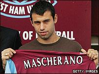 Javier Mascherano el d�a de su presentaci�n con el West Ham.