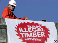 Demonstration against illegal timber (Image: PA)