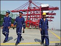 Workers at port in Mumbai