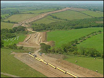The gas pipeline under construction in south Wales