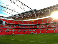 The pitch and stands of the new Wembley stadium