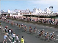 Riders go past Portsmouth pier in 1994