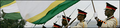 African Union flags being held by a guard of honour in Addis Ababa