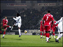 Talal El Karkouri drills home his free-kick