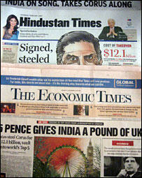Newspaper headlines on Tata deal
