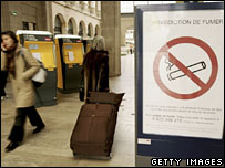 Smoking ban sign at Gare de l'Est in Paris