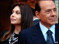 Mr Berlusconi and wife Veronica Lario on the campaign trail