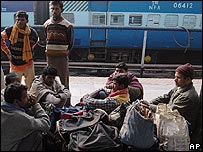 Hindi speaking migrants leaving Assam