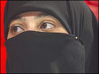 Lady wearing a full niqab veil