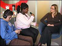 Students from Villiers High School in London interview BBC journalist Ros Smith