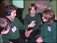 Students from Coombeshead High School in Devon conduct an interview