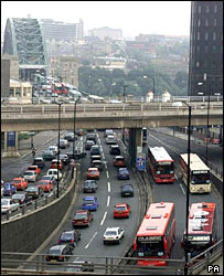 Heavy traffic by the River Tyne in Newcastle