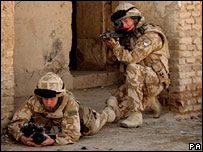 Two British soldiers in Afghanistan