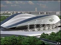 Artists impression of the revised aquatics centre for the London 2012 Olympics