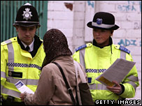 Police hand out leaflets