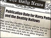 Page from Rowling's website