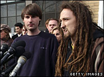 Sean Stevens (left) and Peter Berdovsky after appearing in court in connection with a marketing campaign that caused a terror alert in Boston