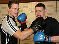 Stuart Fielden (left) and Lee Radford square up