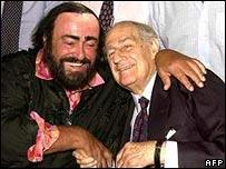 Opera singer Luciano Pavarotti (l) with Gian Carlo Menotti
