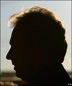 Tony Blair in silhouette