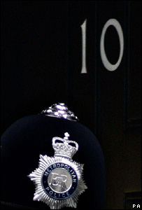 A police officer on duty outside No 10 Downing Street