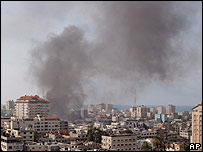 Smoke rises above Gaza's Islamic University
