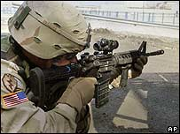 US soldier in a gun battle with insurgents in Mosul, Iraq (file photo)