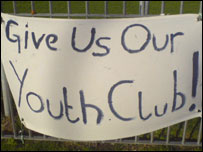 A youth club protest banner