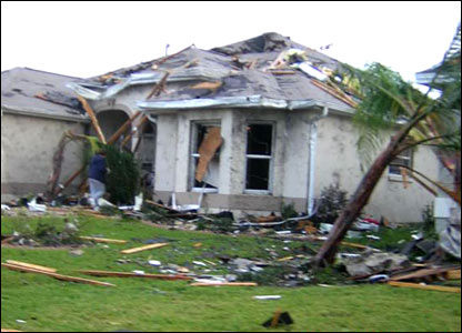 A damaged house in Lady Lake, image sent in by Chris Haigh