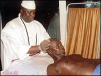 President Yahya Jammeh gets his hands dirty.